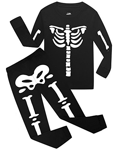 Kids Skeleton Shirt - Boys Halloween Pajamas Skeleton-Glow-in-The-Dark Shirts Toddler