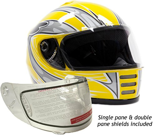Typhoon Helmets Youth Kids Full Face Snowmobile Helmet DOT Dual Lens Snow Boys Girls - Yellow ( Small ) (Helmet Snowmobile Youth)