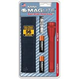 MAGLITE M2A03H AA Mini Flashlight and Holster Combo Pack (Red)