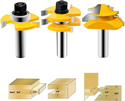 Shelves DIY Project SILIVN Tongue and Groove Router Bit+Lock Miter Router Bit with 45-Degree 1//2-Inch Shank for Doors Tables Walls