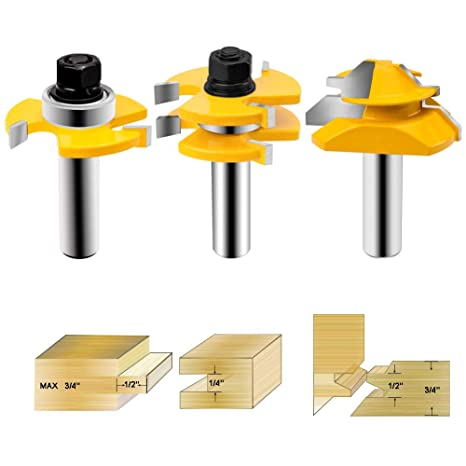 Handsease Tongue And Groove Router Bit 1 2 Inch Shank 45 Lock Miter Router Bit Wood Milling Cutter For Doors Tables Shelves Walls Diy Project