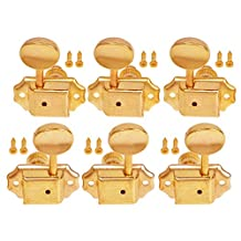 Kmise Electric Acoustic Guitar String Tuning Pegs Keys Tuners Machine Heads Gold (3 Left 3 Right)