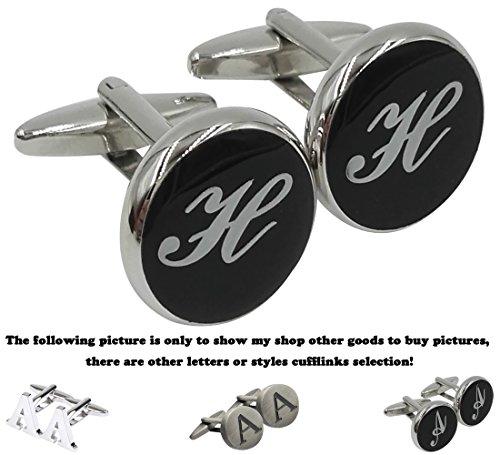GGemony Men's Fashion Luxurious Tuxedo Shirts 2PCS Cufflinks, Gift Box- Premium Quality Personalized Alphabet Letter-H-Black