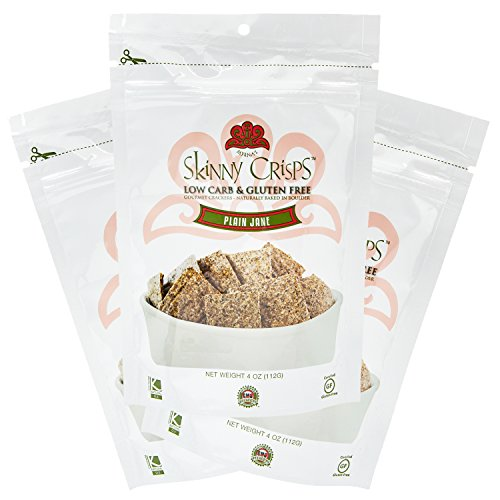Skinny Crisps Plain Jane Low Carb Gluten Free Crackers 4 Ounce Bag (Pack of 3) by Skinny Crisps