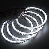 4 Pcs 60 x 3528 SMD LED Angel Eyes Halo Ring Light Bulbs for BMW E36 E38 E39 E46 (White, 5W)
