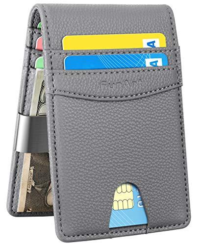 FurArt Bifold Wallet, Genuine Leather Slim Minimalist Wallets with Money Clips, RFID Blocking,Credit Card Holder