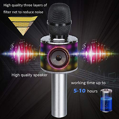 Wireless Bluetooth Karaoke Microphone with Multi-color LED Lights, 4 in 1 Portable Handheld Home Party Karaoke Speaker Machine for Android/iPhone/iPad/Sony/PC (Space gray) … by Fifth Avenue-Store (Image #5)