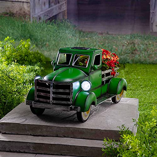Retro Style Solar Pickup Truck Garden Decoration, Desktop Decorative Flower Pot Storage Outdoor Decoration, Resin Vintage Truck Flower Pot (Green)