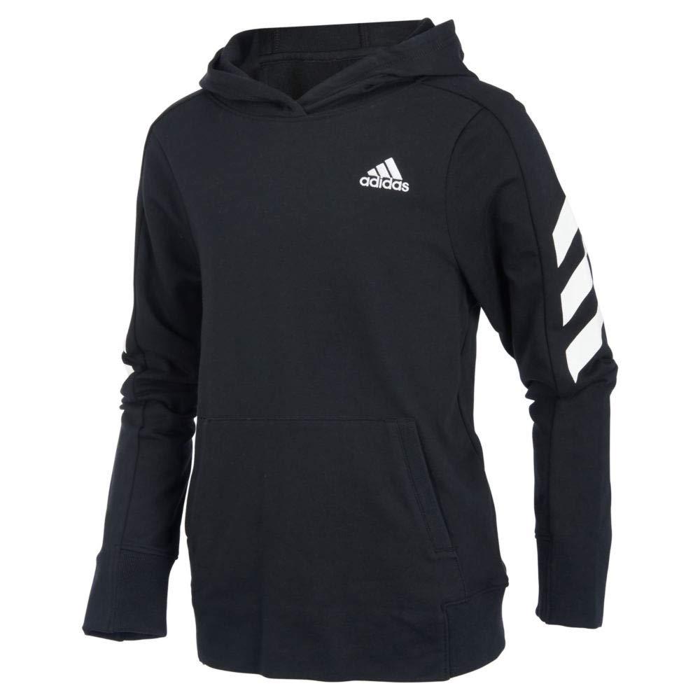 adidas Boys' Big Athletic Pullover Hoodie, Black, S (8/10)