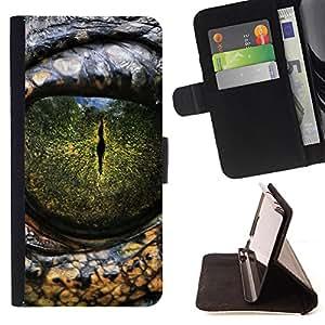 King Art - Premium-PU-Leder-Prima caja de la PU billetera de cuero con ranuras para tarjetas, efectivo Compartimiento desmontable y correa para la mu?eca FOR Apple iPhone 4 4S 4G- Crocodile