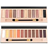 natural makeup palette - 2pcs Nude Eyeshadow Palette 12 Color Naked Matte Shimmer Glitter Pigment Waterproof Natural Eye Shadow Pallete Professional Cosmetic Makeup Kit (A+B)