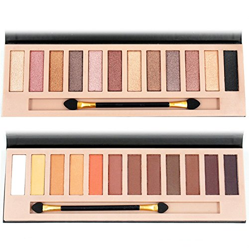 2pcs Nude Eyeshadow Palette 12 Color Naked Matte Shimmer Glitter Pigment Waterproof Natural Eye Shadow Pallete Professional Cosmetic Makeup Kit (A+B) - Sensitive Eyes Eye Shimmer