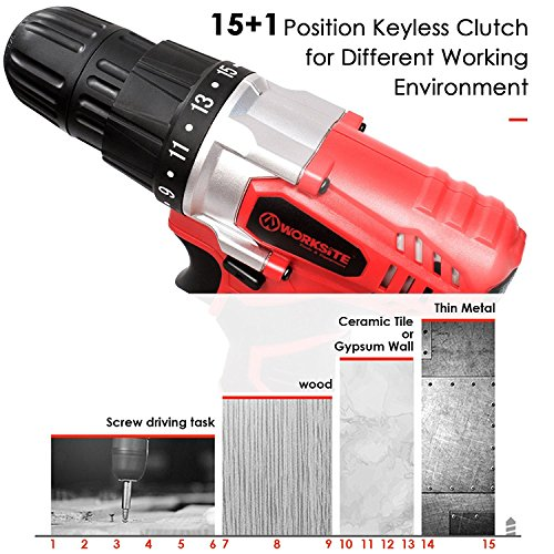 WORKSITE Cordless Drill, 8V Rechargeable Electric Drill 1300mAh 16 Position Keyless Torque Clutch, Variable Speed Switch, with Drill Holster, Annular Cutter, Screwdriver Bit Set and Tool Bag