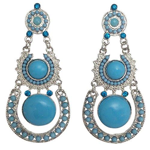 Dot Swing Post Long Dangle Bohemian Boutique Style Earrings (Aqua Blue Silver Tone)
