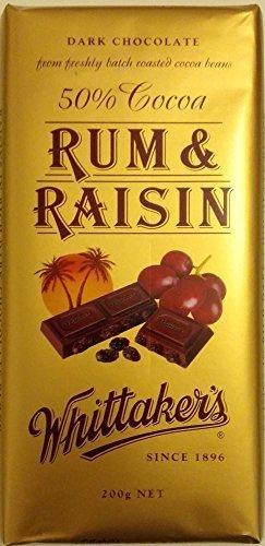 Whittakers Chocolate Block 200g Made In New Zealand Rum Raisin Dark Chocolate By Whittakers