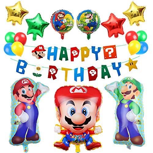 Super Mario Balloons (Mario Birthday Balloons Party Supplies, Super Mario Bros Happy Birthday Banner-Baby Shower Birthday Party)