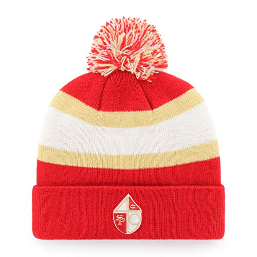OTS NFL San Francisco 49Ers Male Rush Down Legacy Cuff Knit Cap with Pom, Red, One Size - Licensed Nfl Beanie