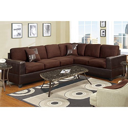 2Pcs Modern Chocolate Plush Microfiber Reversible Sectional Sofa Set with Framed in a Dark Brown Faux Leather - Sectional Wedge