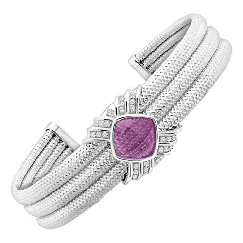 (3 ct Natural Amethyst & 1/5 ct Diamond Cuff Bracelet in Sterling Silver)