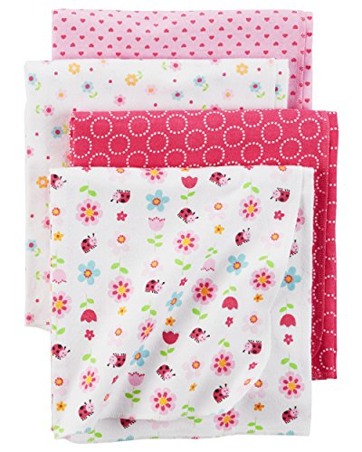 - Carter's Baby Girls' One Size 4-Pack Flannel Receiving Blankets, Ladybug Print, One Size