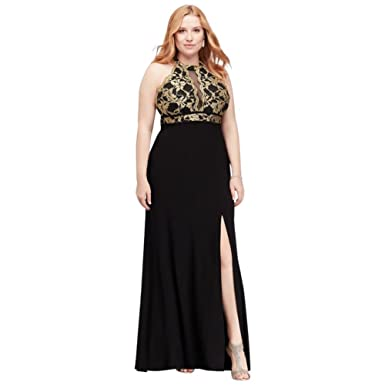 5b1b0c92f94 Scalloped Lace Halter Plus Size Dress with Cutout Style 12444W at Amazon  Women s Clothing store
