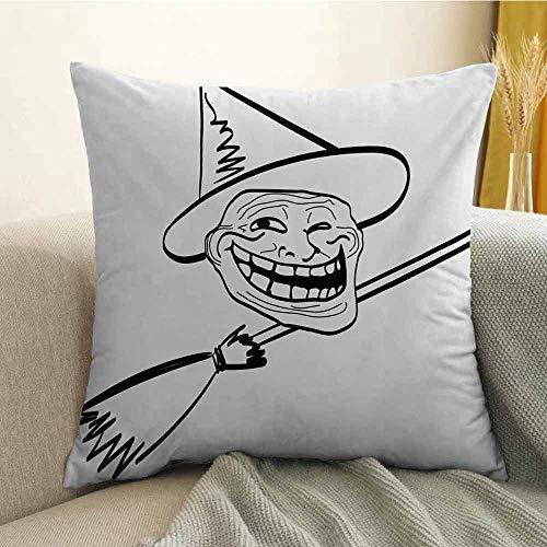 FreeKite Humor Bedding Soft Pillowcase Halloween Spirit Themed Witch Guy Meme LOL Joy Spooky Avatar Artful Image Print Hypoallergenic Pillowcase W18 x L18 Inch Black and White ()