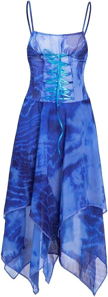 TUDUZ Vestido Manga Corta Verano Irregular de la Moda de Encaje hasta Cors/é Blusa Pa/ñuelo Dobladillo Vestido