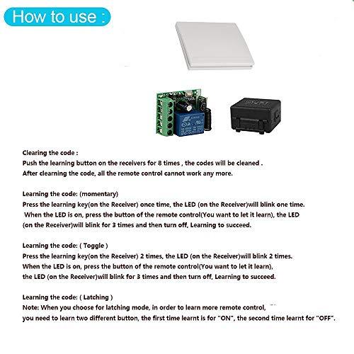 QIACHIP 433MHz Wireless Remote Control Switch DC 12V 1CH