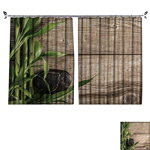 l Protection Material Polyester Zen Basalt Stones and Bamboo on The Wooden baord Background for Living Room Window,Sun Insulation. W120 x L108 ()