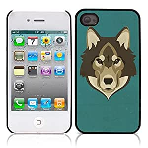 LJF phone case Wolf Animal Hard Plastic and Aluminum Back Case for Apple iphone 4 4S