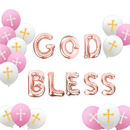 Baby God Cross Bless (JeVenis Set of 21 Rose Gold God Bless Balloons God Bless Balloon Banner Baptism Decor Baptism Balloons for Baby Shower Girl Baby)