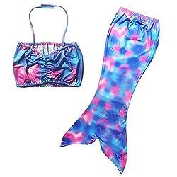 Kid Girls Mermaid Tail Swimsuit Bikini Set Fancy Swimsuit Costume Bathing Suit (M)