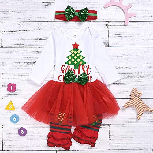 Pijamas Reci/én Nacido Infantil Calcetines a Rayas Fossen Kids Navidad Conjunto Bebe Ni/ña Oto/ño Invierno My First Christmas Tut/ú a Cuadros Diadema