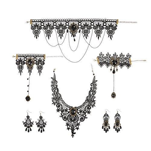 Pangda Black Lace Gothic Vintage Pendant Choker Necklace Earrings Bracelet - Black Vintage Beads