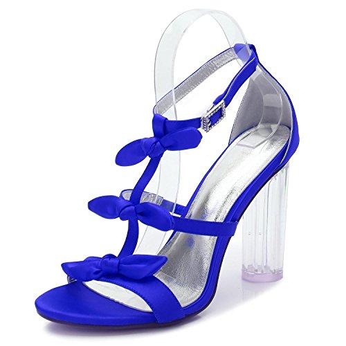 Personalizados F2615 Cristal Mujeres tacones Fiesta Blue Plataforma toe Peep yc L 2 Altos Baile De Zapatos Boda Las Satén qCWFTYO