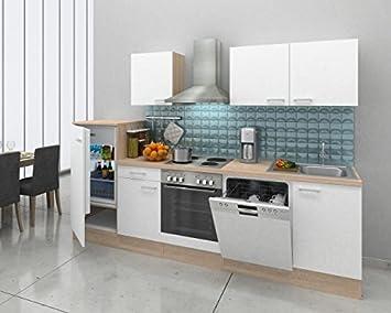 respekta Einbau Küche Küchenzeile Küchenblock 280 cm Eiche Natura ...