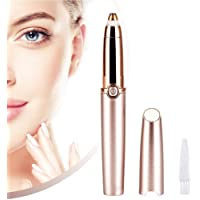Eyebrow Hair Trimmer Epilator for Women, Geecol Eyebrow Remover Painless Facial Brows Hair Removal with LED Light for Good Finishing and Well Touch (Rose Gold) (Battery type)
