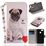 Misteem Case for Huawei P9 Lite Mini Animal, Cartoon Anime Comic Leather Case Wallet with Bookstyle Magnetic Closure Card Slot Holder Flip Cover Shockproof Slim Creative Pattern Shell Protective Cover for Huawei P9 Lite Mini [Dog Pug]