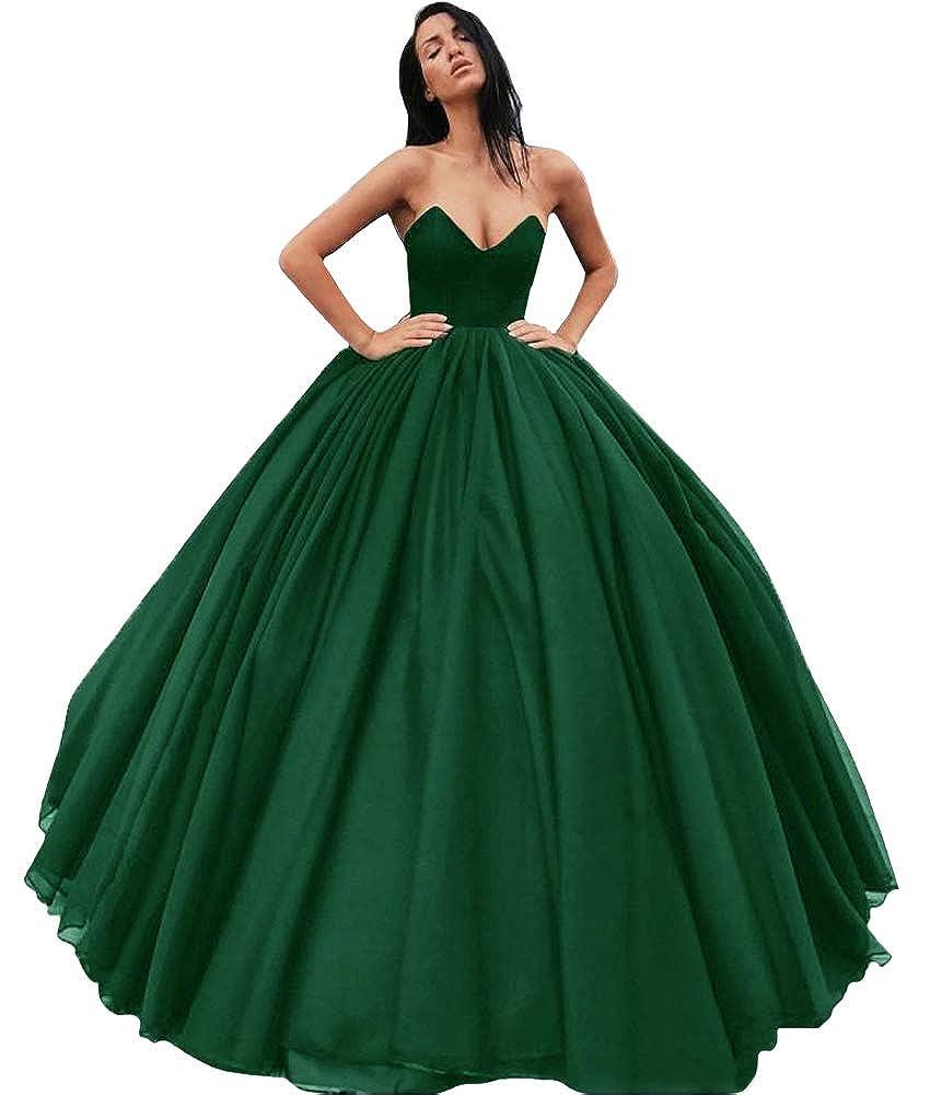 Emerald JINGDRESS Women Sleeveless Tulle Prom Evening Ball Gowns Sweetheart Floor Length Graduation Dresses