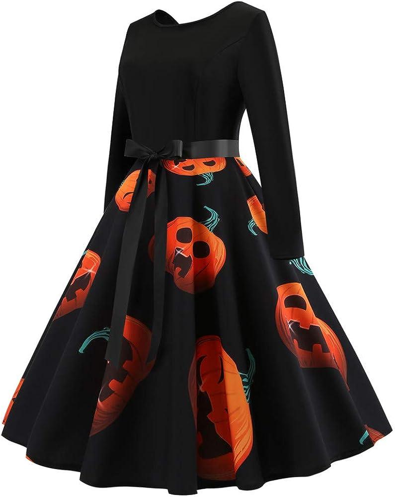 Vintage Halloween Mini Dresses for Women Long Sleeve Pumpkin Print Patchwork Swing Dress with Belt