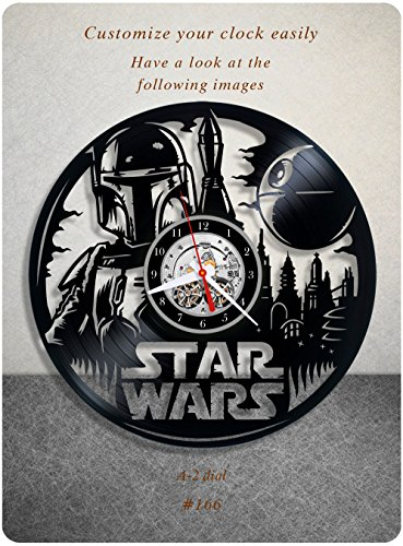 Star Wars vinyl clock, Boba Fett vinyl wall clock, vinyl record clock yoda leia organa luke skywalker jedi home decor birthday gift 166 - (a2) ()