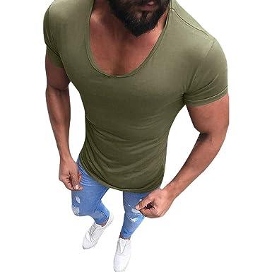 Tops Hemden Sport Muskel Bodybuilding Männer T-Shirt Tiefer V-Ausschnitt