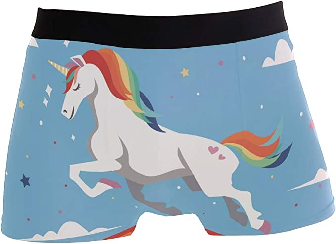 Mens Cute Unicorns Blue Background Underwear Boxer Briefs Ultra Soft Comfortable