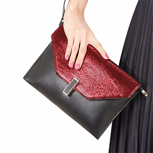 pochette de sac européenne 2018 rougeâtre Noir sac et noir américaine Rougeâtre cuir coursier 0qwYSxE