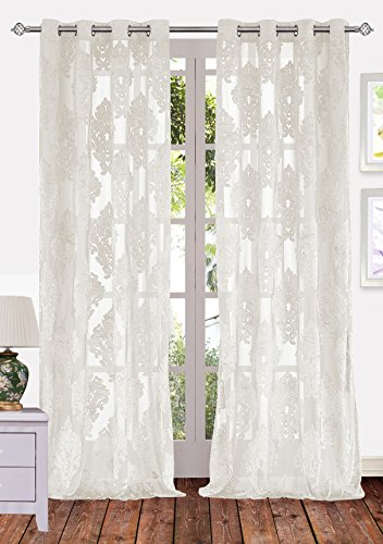 Ifblue 2-Panels 52x84-Inch Grommet Top Sheerness Velvet Cutting Flower Sheer Window Light Filtering Classic Curtains Drapes - Cream