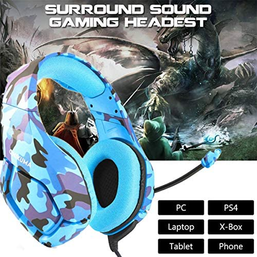 Gaming Headset PS4, Compatible for Xbox One, Nintendo Switch, ONIKUMA K1 Stereo Noise Cancelling Over Ear Headphones with Microphone,Volume Control for PC, Phone, with Free Headphone Hook 51pp0 engEL