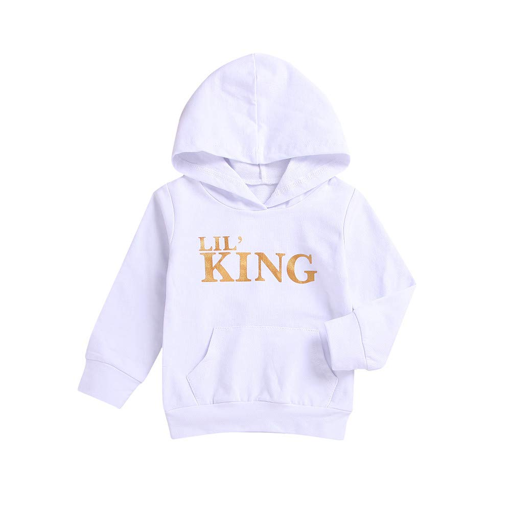 Baby Boys Hoodies Tops Letter King Infant Toddler Hooded Sweatshirts