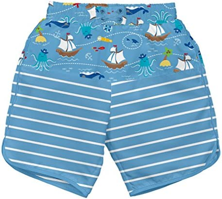 i play by green sprouts baby-boys Trunks with Built-in Reusable Swim Diaper,Navy Pirate Ship,4T