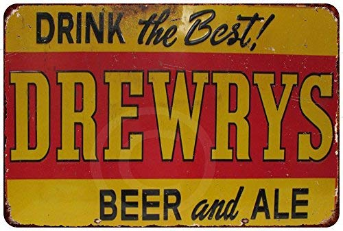 qidushop Drink The Best Drewrys - Placa Decorativa para Pared (30 x 45 cm), diseño de Cerveza y Cerveza