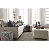 Kendleton Contemporary Stone Color Fabric Sectional Sofa and Ottoman